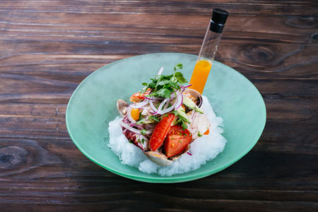 Mixed Seafood Ceviche with Shaved Ice